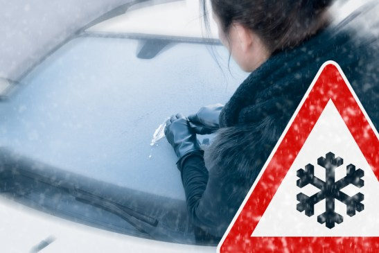 Winter Driving - Scraping Ice - Caution