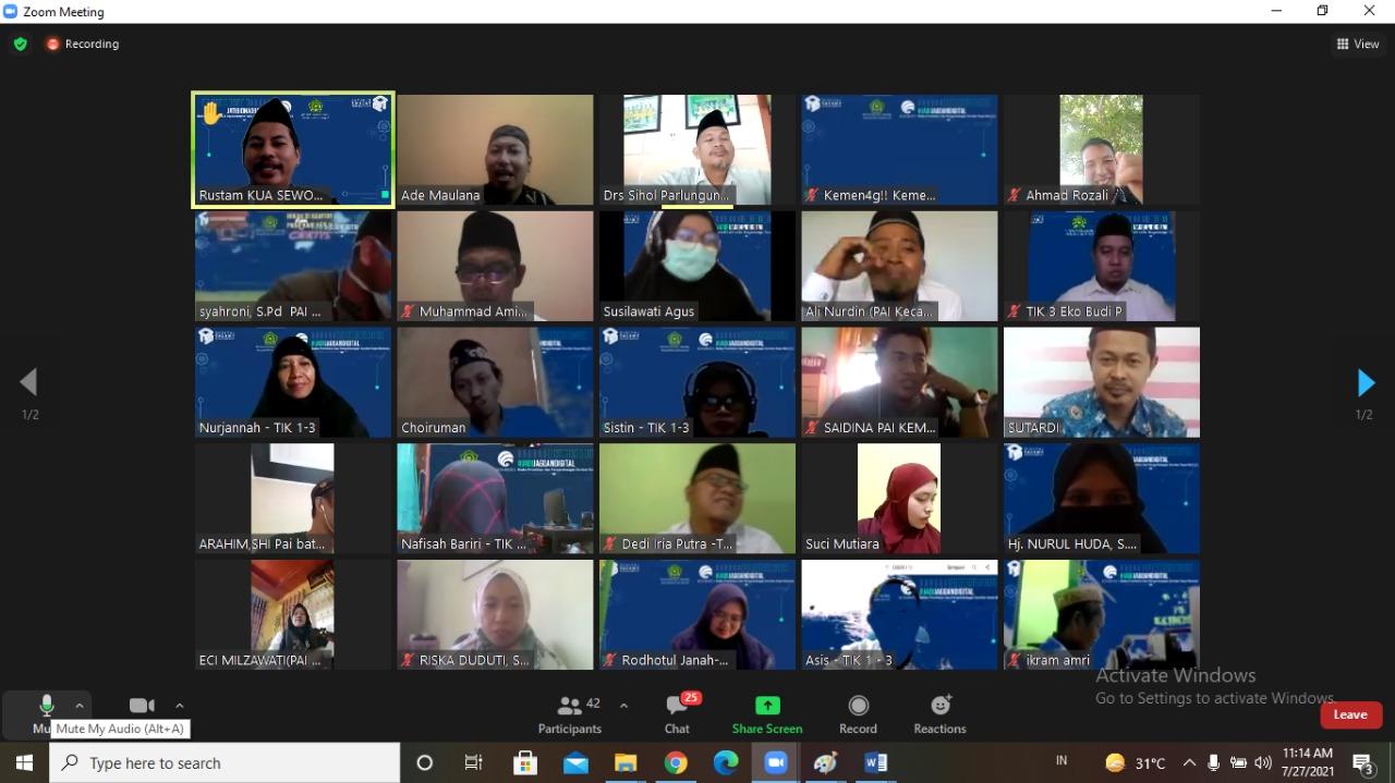 Penyuluh Agama Islam KUA Sewon Ikuti Pelatihan Daring TIK