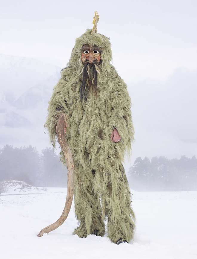 The Wild Man costume is made of a hood jacket and trousers. Men also wear a wooden mask and lean on a big stick. & Winter Solstice Costumes | Moss and Fog