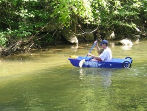 The paint job. The wheels. The leak. It's wonderful. We're in the shallows here. Kids should always have a life jacket.