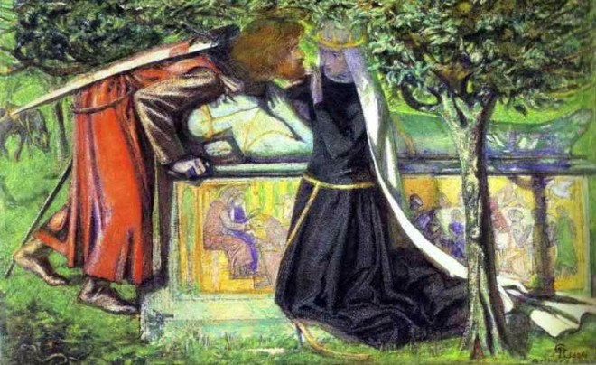 Dante Gabriel Rossetti's Arthur's Tomb: The Last Meeting of Lancelot and Guinevere width=