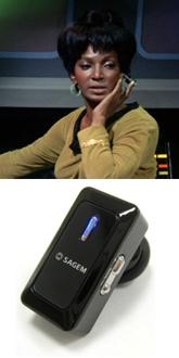 Uhuru's Earpiece vs. Bluetooth (images: Memory Alpha / Sagem)