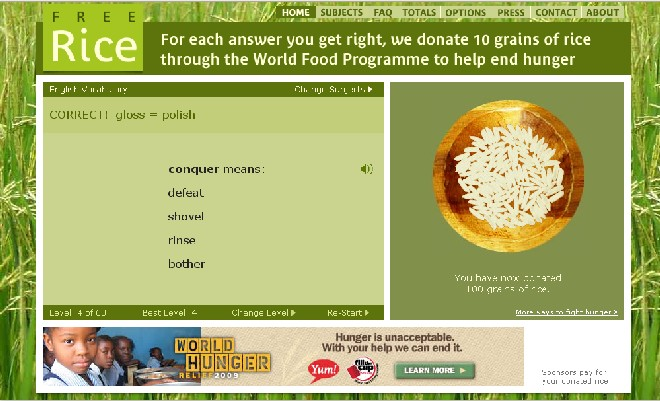 FreeRice is a non-profit website run by the United Nations World Food Program