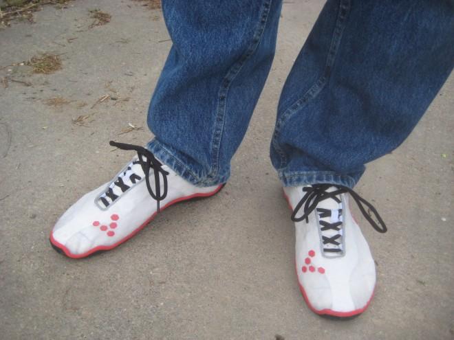 What the EVOs look like on actual feet. Photo: Jonathan Liu