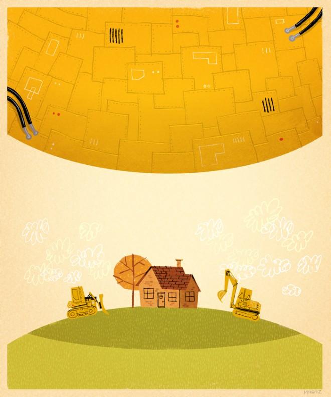 Arthur Dent's house vs. the Vogon ship, by John Martz via the PictureBookReport.com. Used with permission.