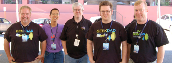 GeekDads Ken Denmead, Jonathan Liu, Michael Harrison, and Dave Banks, with Wizards of the Coast's Mike Mearls