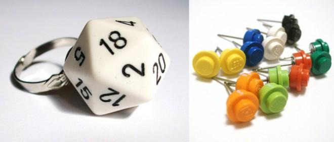 D20 Ring, Lego Stud Earrings