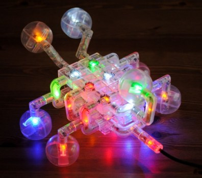 """Laser Pegs """"bug"""" model is all lit up."""