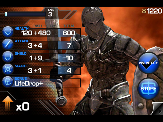 Infinity Blade experience points