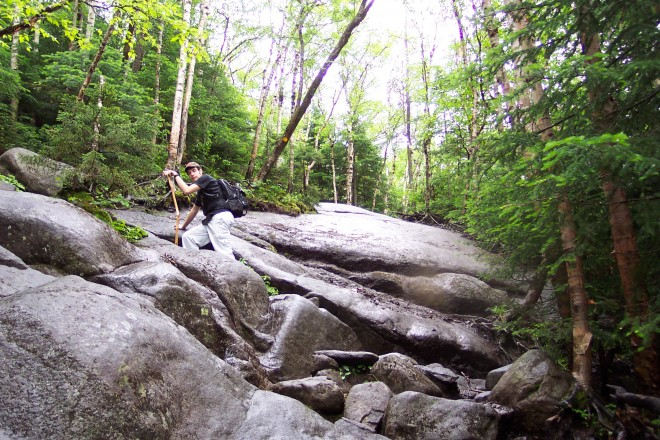 Hiker on rock face