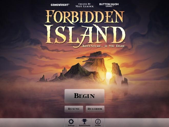 Forbidden Island app title screen