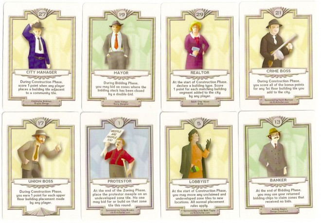 A few of the Sunrise City role cards.