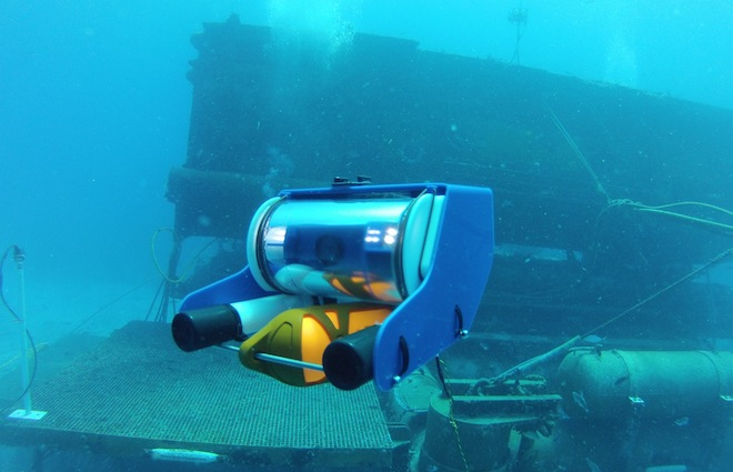 An OpenROV fully operational with Aquarius in the background. (Image: OpenROV)