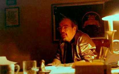 Gary Gygax at his home in Beverly Hills, CA. Note the original AD&D Players Handbook artwork framed on the wall behind him. (photo: courtesy of the Gygax Memorial Fund)