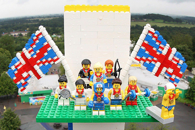 Team GB Minifigs at the top of the tower, courtesy the Lego Group