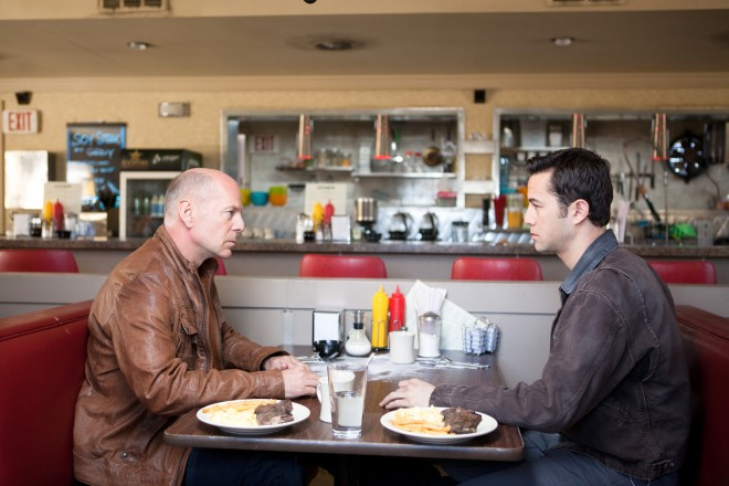 "Bruce Willis and Joseph Gordon-Levitt in ""Looper"""