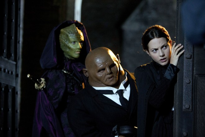 Come on BBC. Give these kids their own series! Madame Vastra (Neve McIntosh), Commander Strax (Dan Starkey), and Jenny Flint (Catrin Stewart) — CREDIT: Adrian Rogers, ©BBC/BBC WORLDWIDE