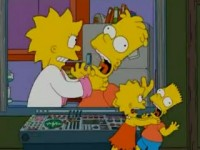 Bart and Lisa Simpson view their future selves.