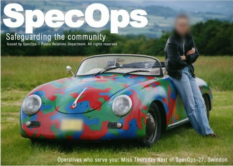 Thursday Next from the SpecOps, beside her painted car