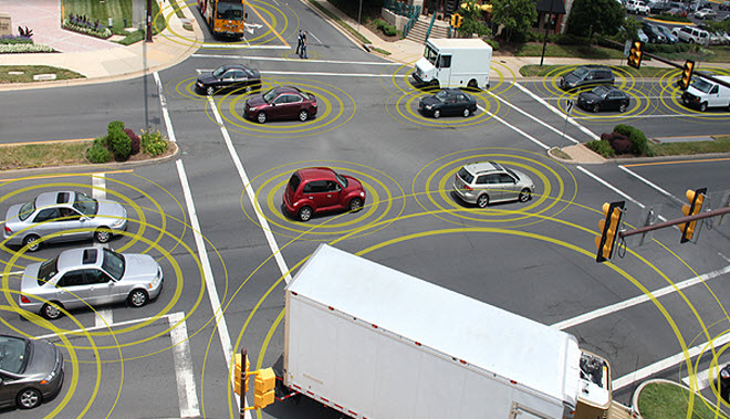 The feds want to make V2V technology a requirement on all new cars Image: DOT