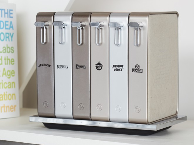 """In this system Pernod Ricard's beverages are stored in metallic """"container books"""" that look like liquor-filled Mac Minis."""