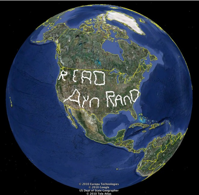 "Image of earth with ""Read Ayn Rand"" on North America"