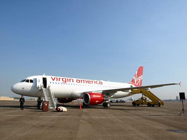 Virgin America plane on the ground