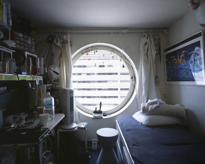 Interior view of a capsule apartment