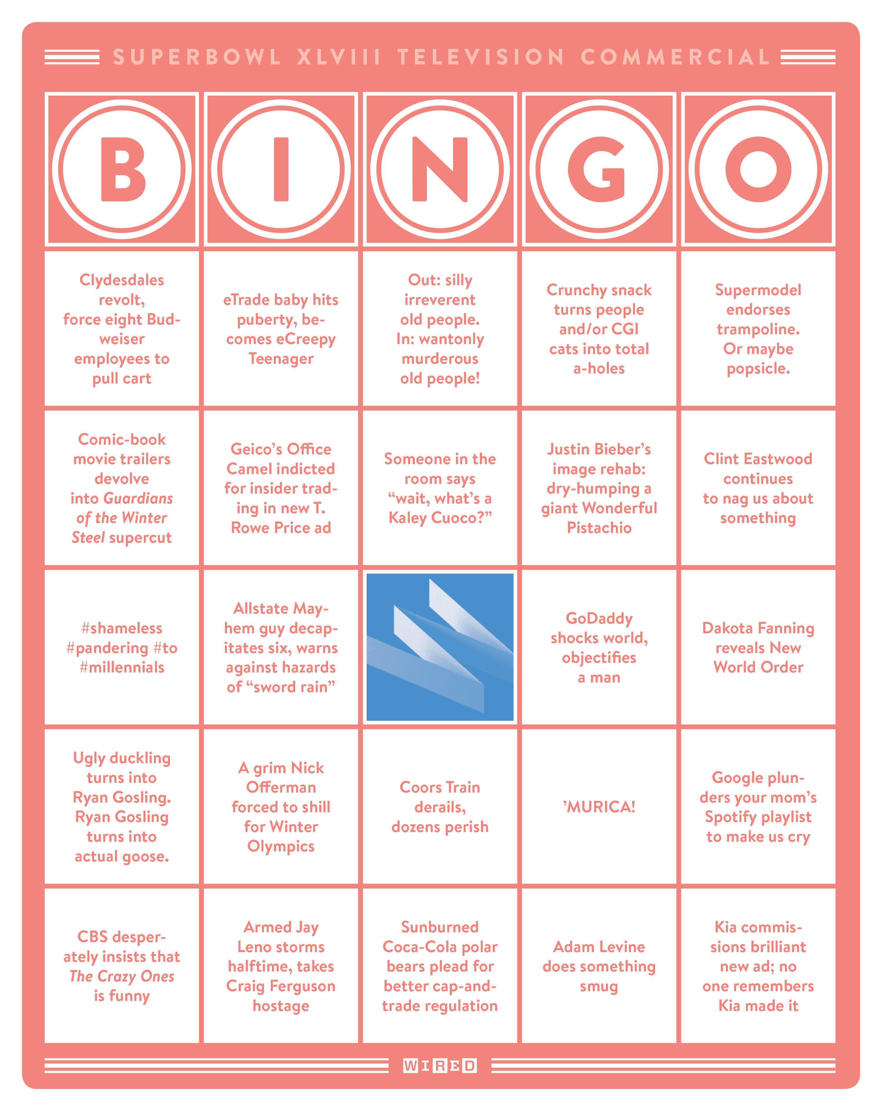 Wired S Super Bowl Ad Bingo Download Now