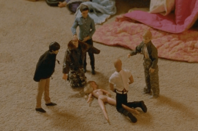 Audrey's in-no-way-traumatized playtime with her dolls