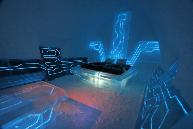 Tron: Legacy-inspired Legacy of the River suite at the Icehotel in Sweden