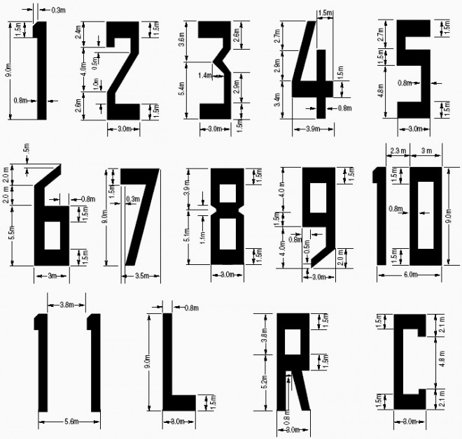 The numbers 1-11 and some letters, all with measurements. The characters are all clear and very easy to print or to read.