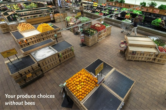 Whole Foods Market produce department without items dependent on pollinator populations. (PRNewsFoto/Whole Foods Market)