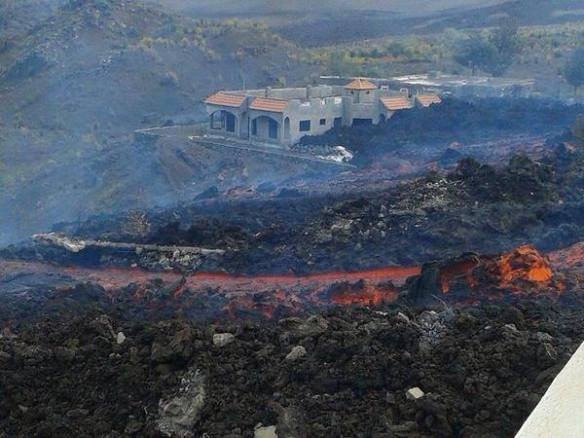 Lava flows from the Fogo eruption covering the towns of Portello and Bangaeira. Photo by INVOLCAN, used by permission.
