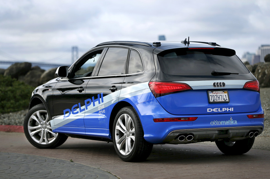 Autonomous car from Delphi drives on Treasure Island in preparation for a cross-country trip from San Francisco to New York City in San Francisco