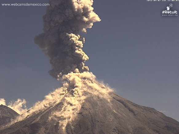Explosive eruption at Mexico's Colima, capture on the Webcams de Mexico camera on April 2, 2015.