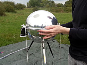 The Deep Sweep probe, which uses a shell made from two mirrored acrylic surveillance camera covers.