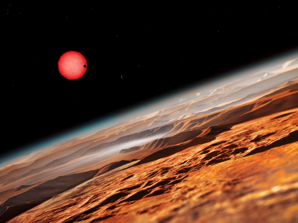Vue d'artiste de l'étoile naine Ultracool TRAPPIST-1 fro