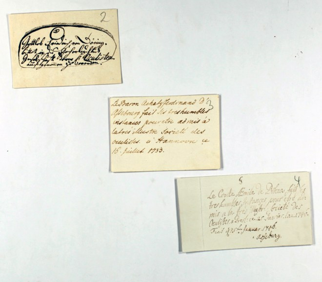 A trio of handwritten notes, each from an aristocrat asking to be admitted into the society.