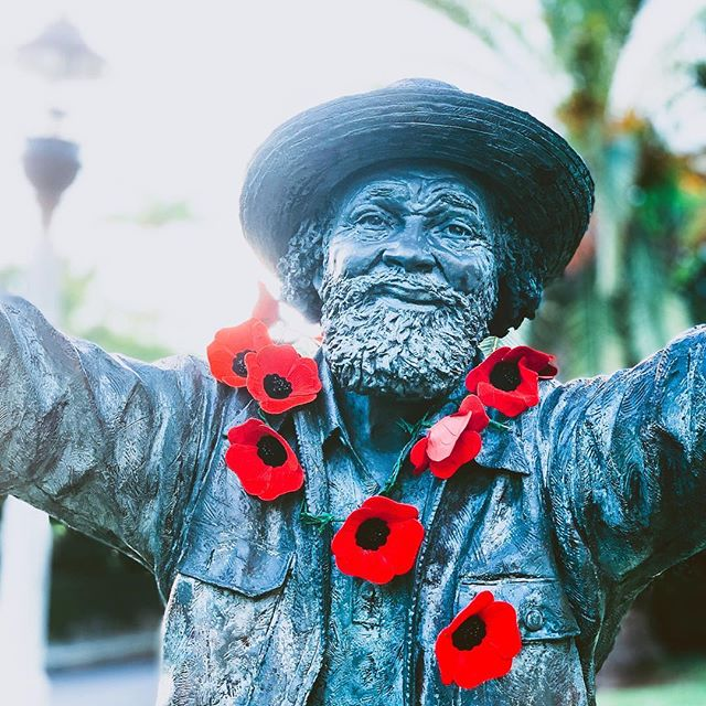 The statue of Johnny Barnes adorned with poppies on Remembrance Day.