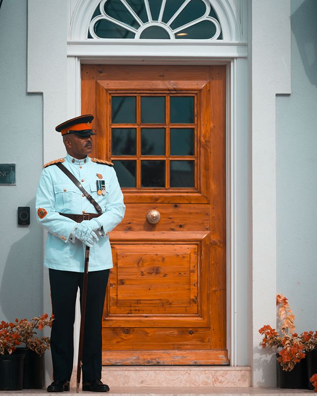 Standing guard. Long serving soldier and friend Alvin Harvey at the Reconvening of Government in Bermuda this month.