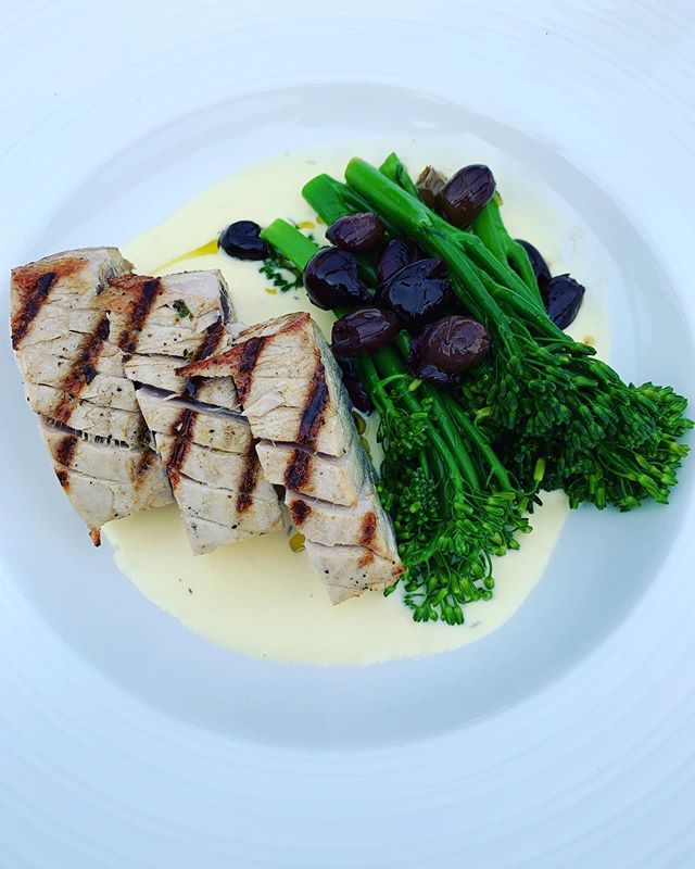 What's for dinner? Well! Local tuna and broccolini at Mickey's on a Saturday night!