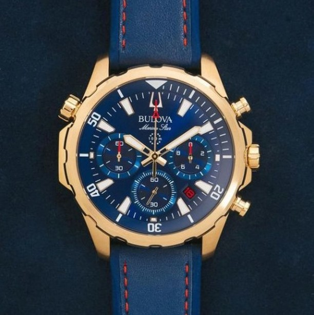 Bulova Watches- This One Particulary Nice  35% off Bulova MSRP  Crisson 16 Queen Street Monday - Saturday 10am - 4pm Face Masks Are A Must  Marine Star Chronograph 43mm Gold Plated Bulova MSRP: $475 Crisson Retail: $308.75