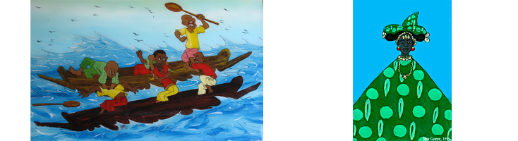 Representación de migrantes en pateras - Mujer