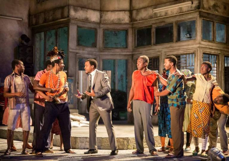 A Season in the Congo - centre Chiwetel Ejiofor as Patrice Lumumba with full Company. Photo by Johan Persson.