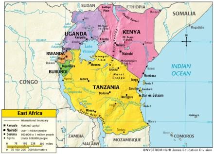 Mapa político de los países que integran la región de África del Este.