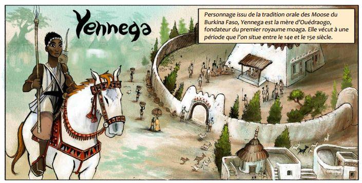 Imagen del cómic dedicado a Yennega, la guerrera burkinesa