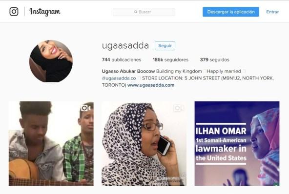 Captura Instagram Ugaaso A. Boocow