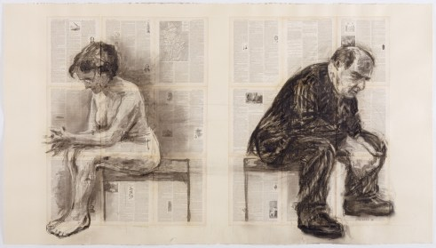 'Seated Couple (Back to Back)' (1998), William Kentridge.-