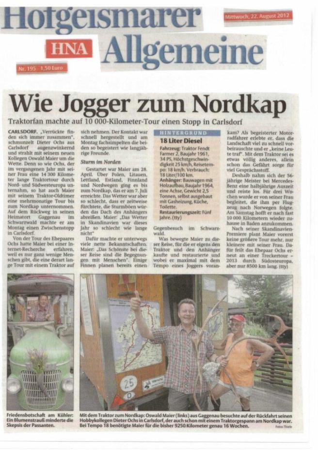 HNA - 22.08.2012 - Wie Jogger zum Nordkap